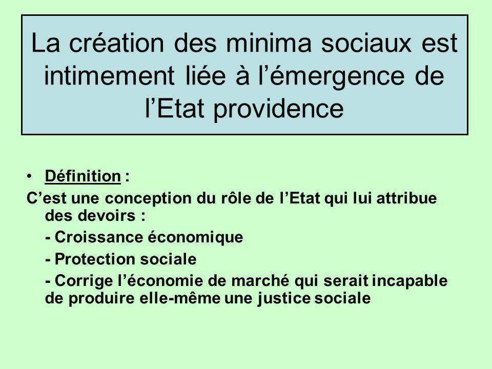 La création des minima sociaux est intimement liée à l'émergence de l'Etat providence