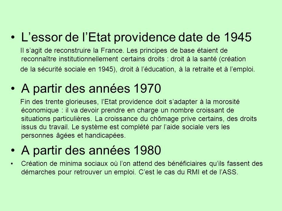 L'essor de l'Etat providence date de 1945