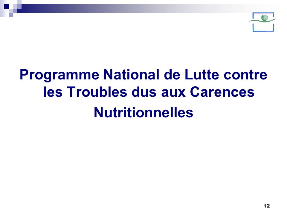 Programme National de Lutte contre les Troubles dus aux Carences