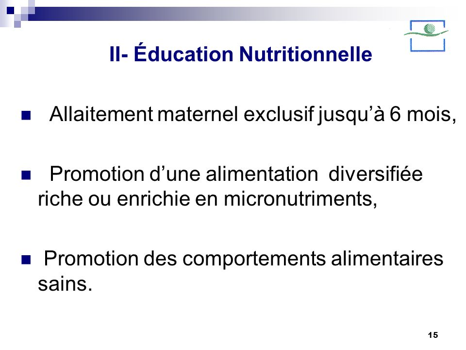 II- Éducation Nutritionnelle