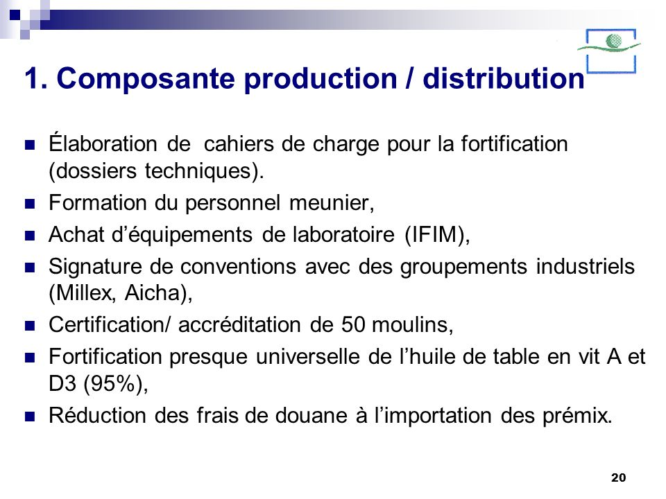 1. Composante production / distribution