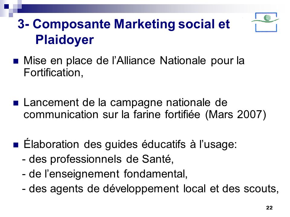 3- Composante Marketing social et Plaidoyer