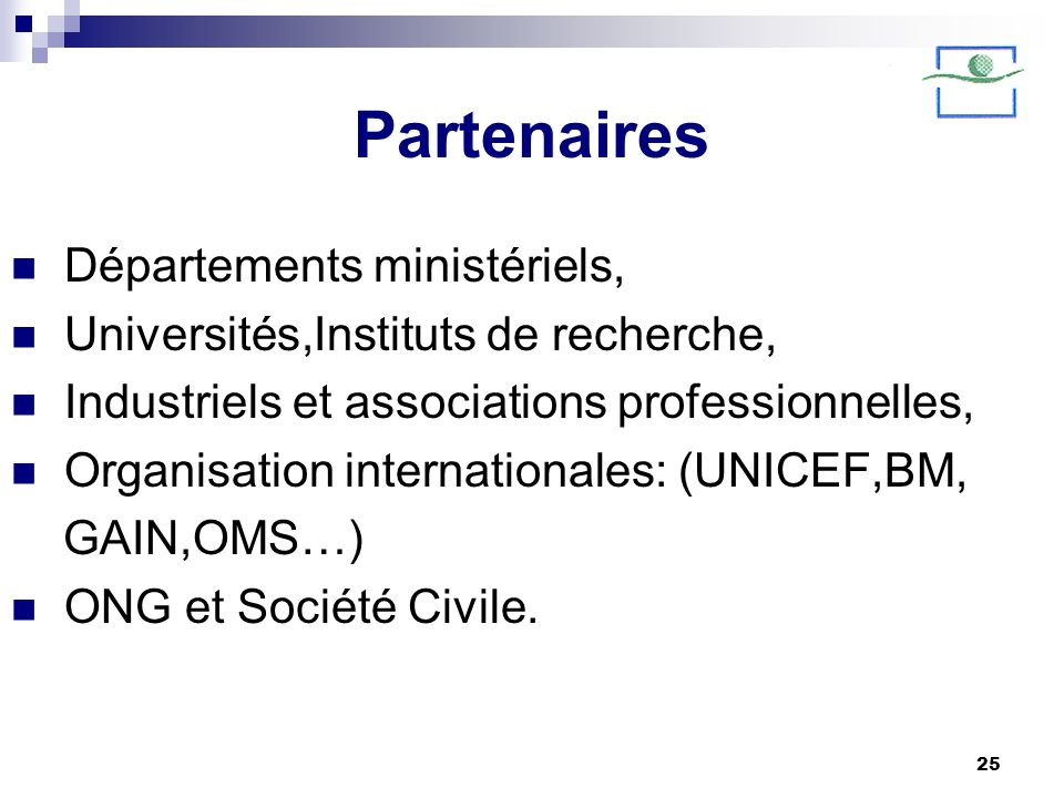 Partenaires Départements ministériels,