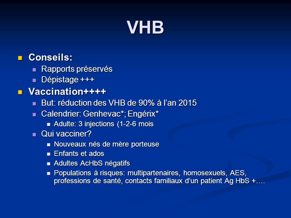 VHB Conseils: Vaccination++++ Rapports préservés Dépistage +++