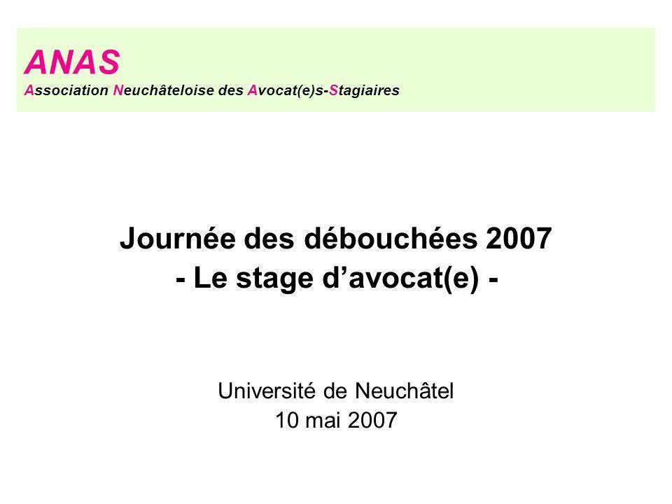 Journée des débouchées 2007 - Le stage d'avocat(e) -