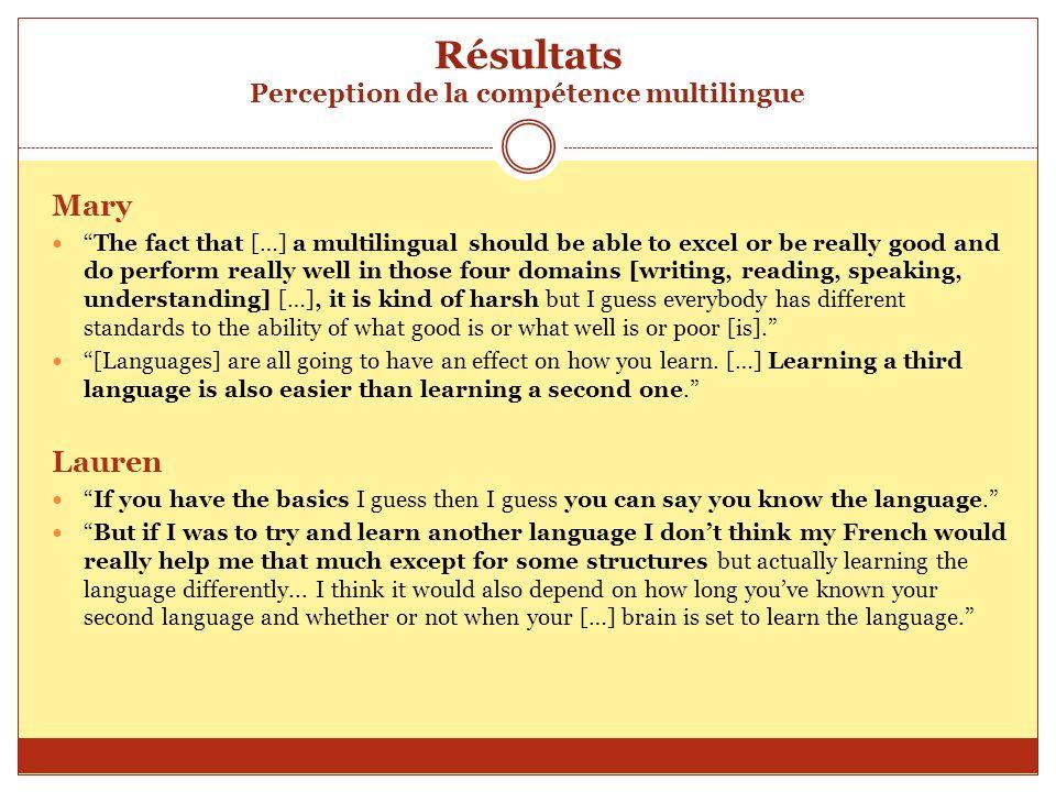 Résultats Perception de la compétence multilingue