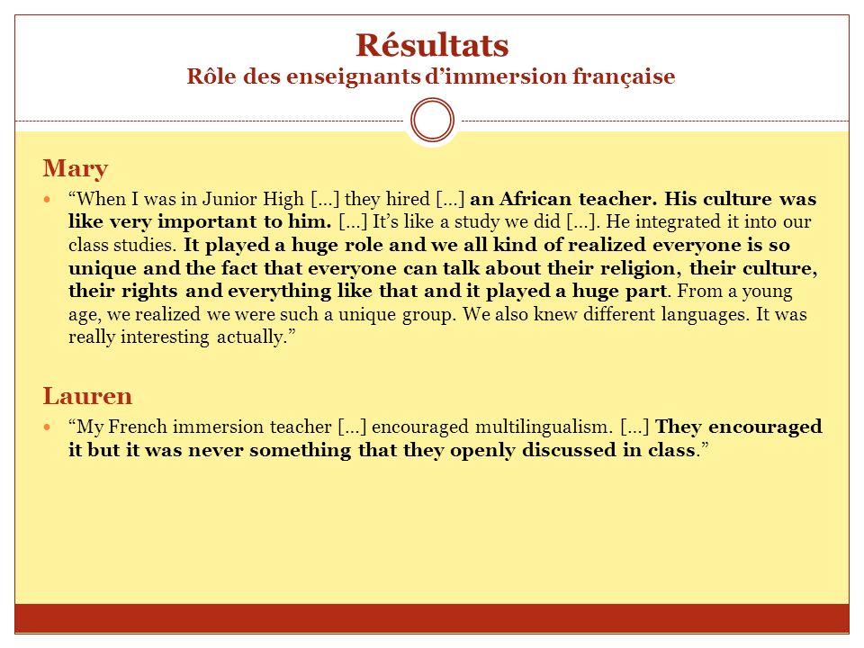 Résultats Rôle des enseignants d'immersion française