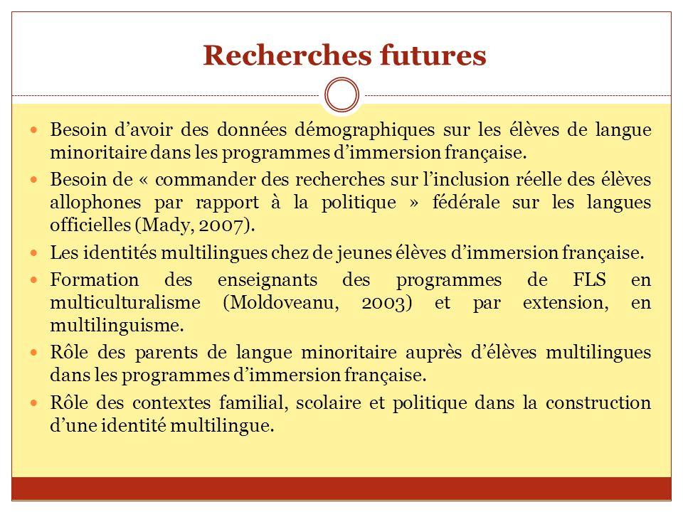 Recherches futuresBesoin d'avoir des données démographiques sur les élèves de langue minoritaire dans les programmes d'immersion française.