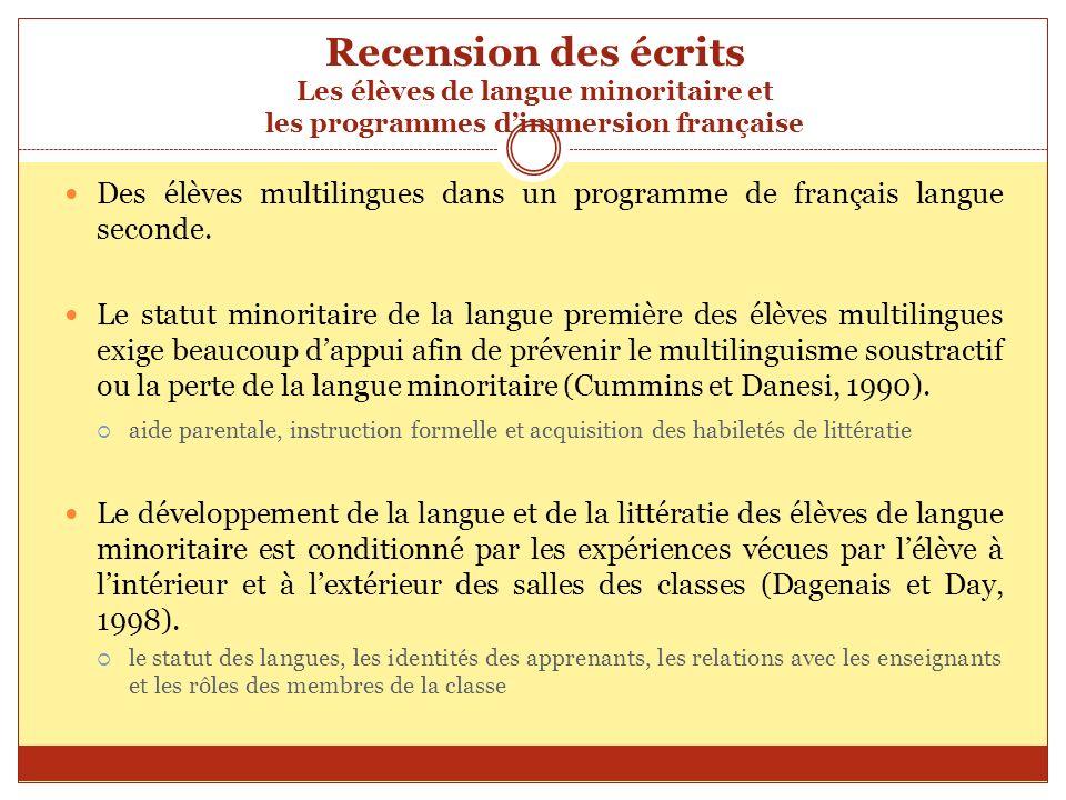 Recension des écrits Les élèves de langue minoritaire et les programmes d'immersion française