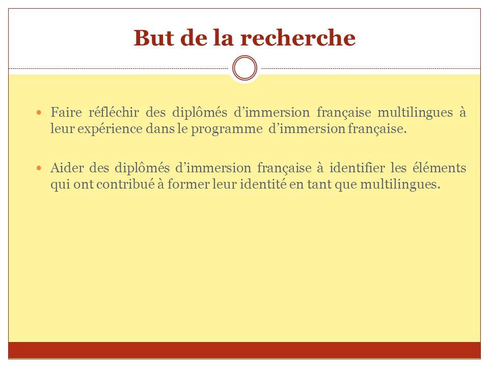 But de la rechercheFaire réfléchir des diplômés d'immersion française multilingues à leur expérience dans le programme d'immersion française.