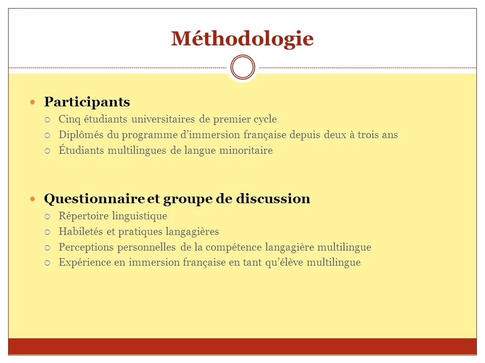 Méthodologie Participants Questionnaire et groupe de discussion