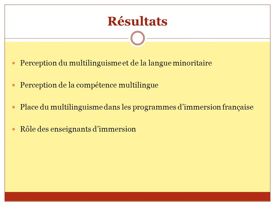 Résultats Perception du multilinguisme et de la langue minoritaire