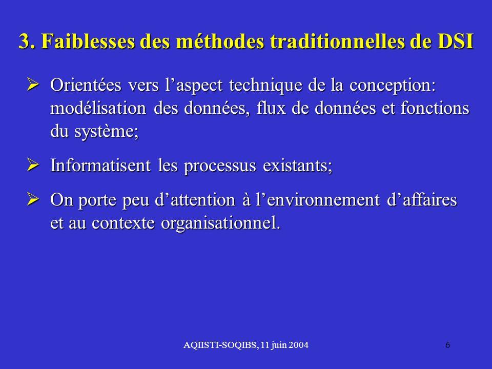 3. Faiblesses des méthodes traditionnelles de DSI