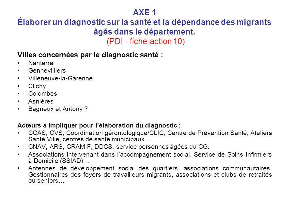 AXE 1 Élaborer un diagnostic sur la santé et la dépendance des migrants âgés dans le département. (PDI - fiche-action 10)