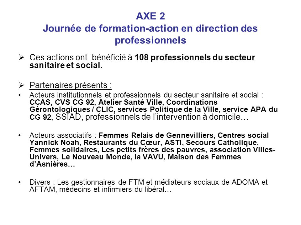AXE 2 Journée de formation-action en direction des professionnels
