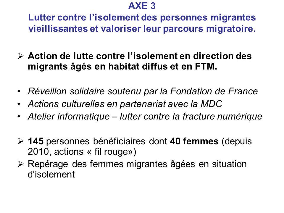 AXE 3 Lutter contre l'isolement des personnes migrantes vieillissantes et valoriser leur parcours migratoire.