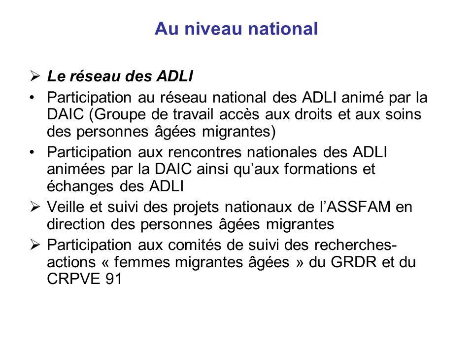 Au niveau national Le réseau des ADLI