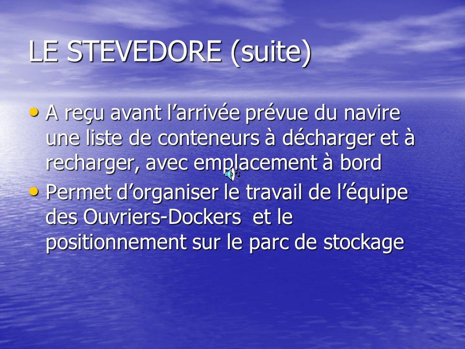 LE STEVEDORE (suite) A reçu avant l'arrivée prévue du navire une liste de conteneurs à décharger et à recharger, avec emplacement à bord.