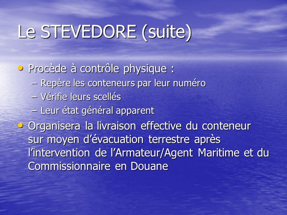 Le STEVEDORE (suite) Procède à contrôle physique :