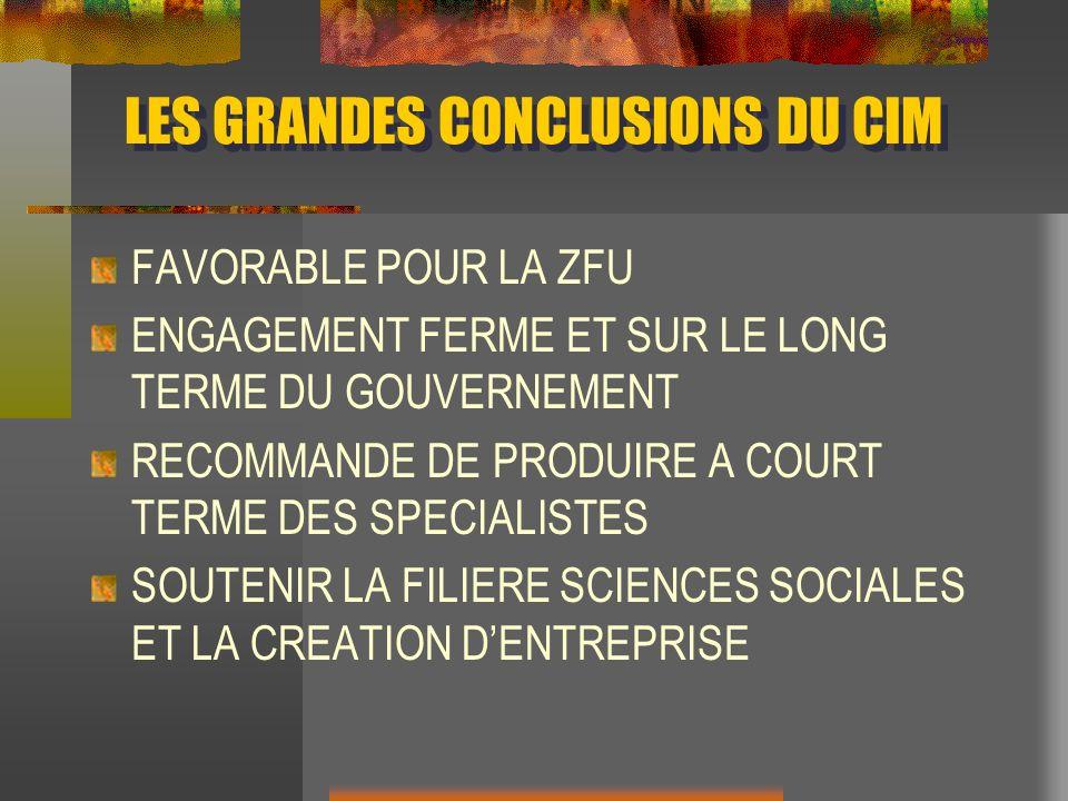 LES GRANDES CONCLUSIONS DU CIM