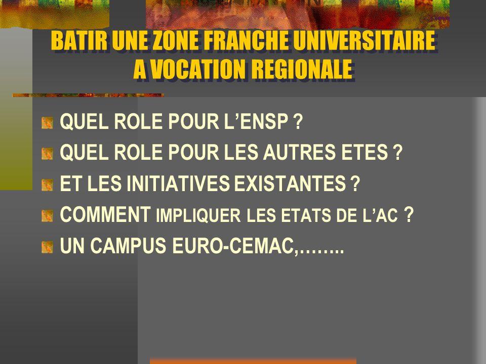 BATIR UNE ZONE FRANCHE UNIVERSITAIRE A VOCATION REGIONALE