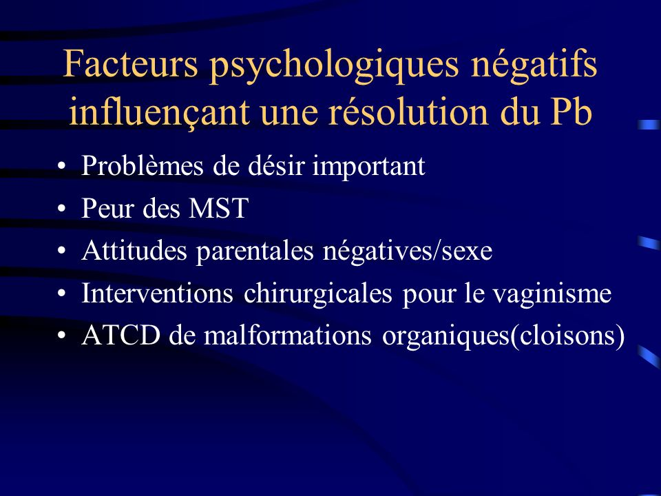 Facteurs psychologiques négatifs influençant une résolution du Pb