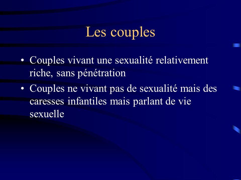 Les couples Couples vivant une sexualité relativement riche, sans pénétration.