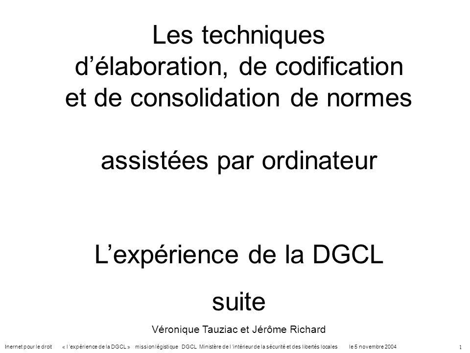 L'expérience de la DGCL suite