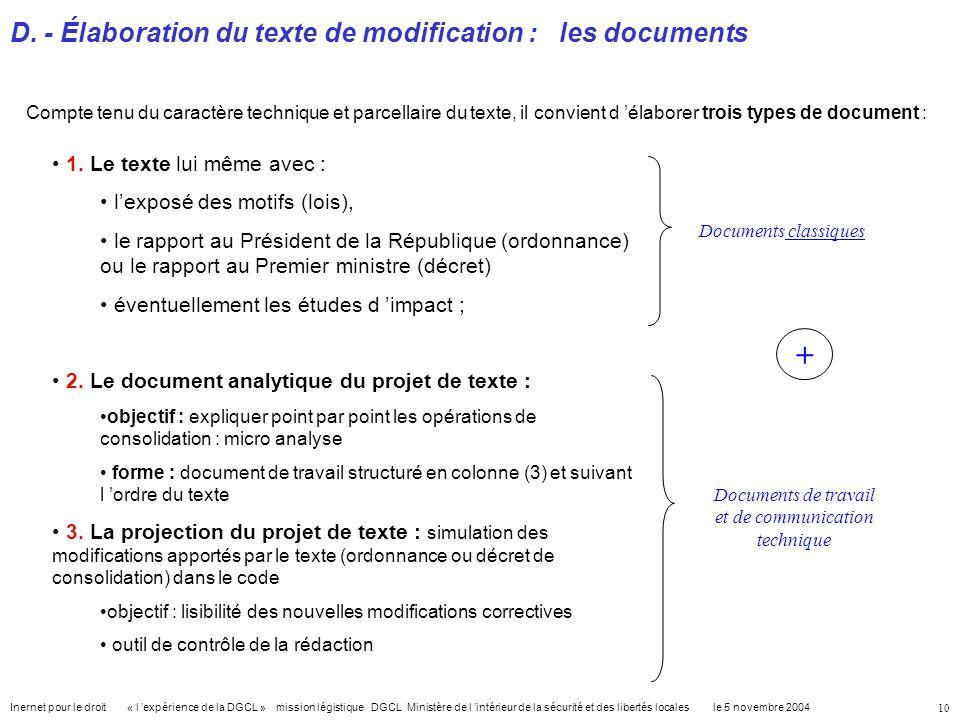 D. - Élaboration du texte de modification : les documents