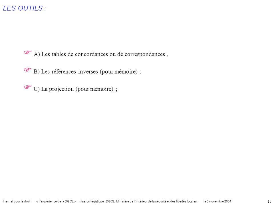 LES OUTILS : A) Les tables de concordances ou de correspondances ,