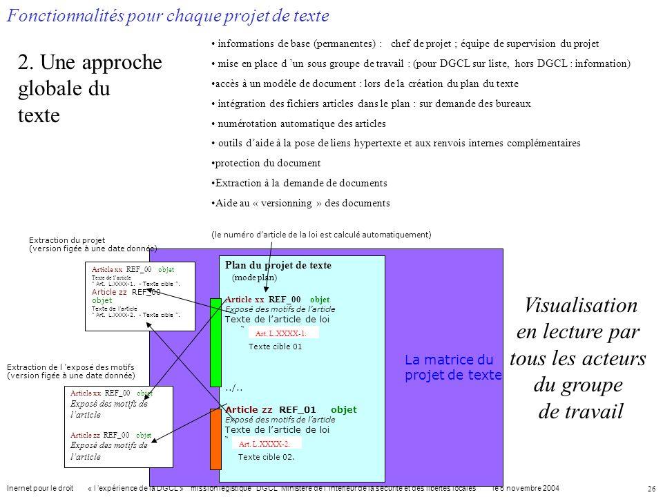 Visualisation en lecture par tous les acteurs