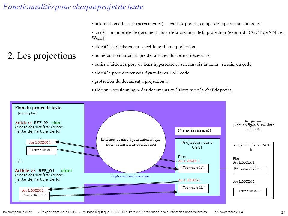 2. Les projections Fonctionnalités pour chaque projet de texte