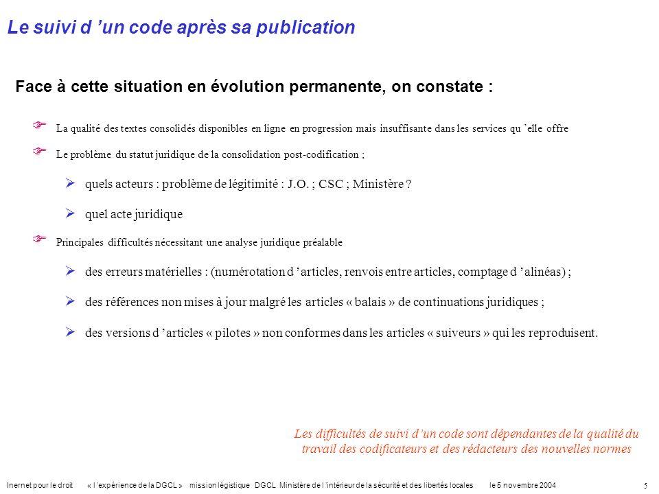 Le suivi d 'un code après sa publication