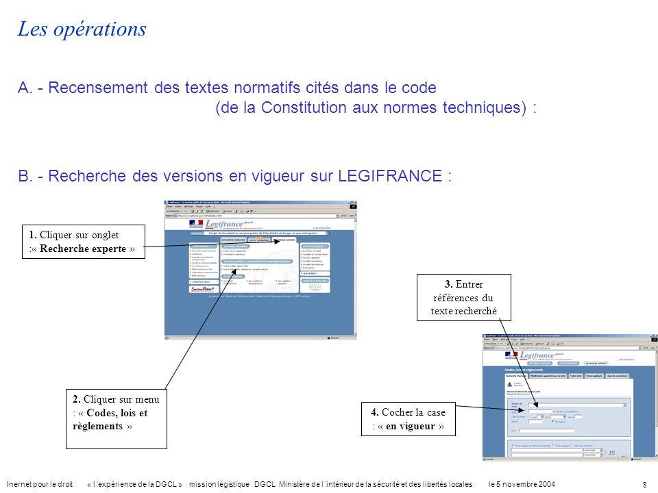 Les opérationsA. - Recensement des textes normatifs cités dans le code (de la Constitution aux normes techniques) :
