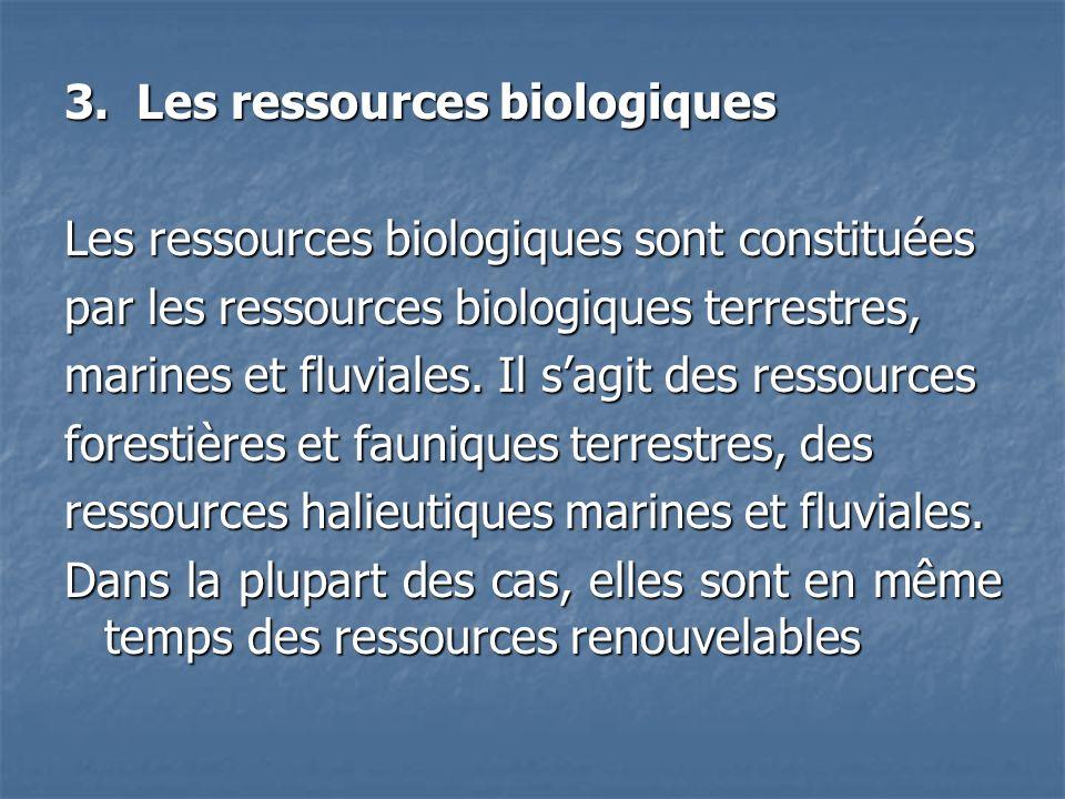 3. Les ressources biologiques