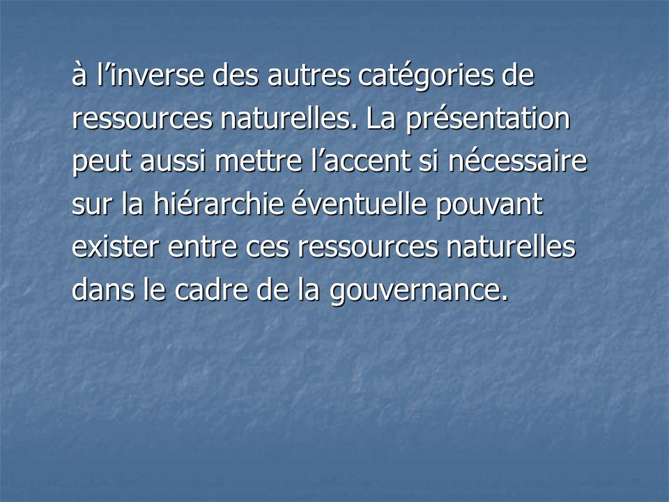 à l'inverse des autres catégories de ressources naturelles