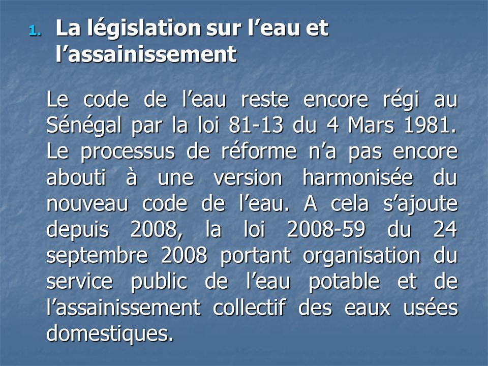 La législation sur l'eau et l'assainissement