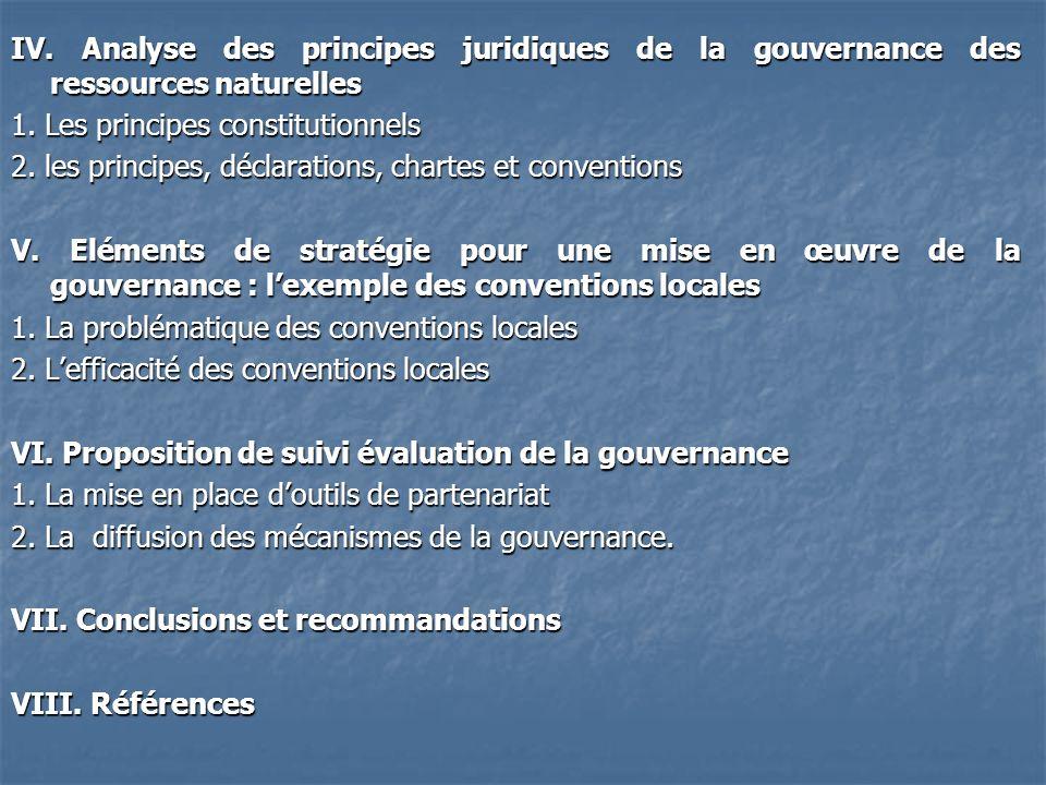 IV. Analyse des principes juridiques de la gouvernance des ressources naturelles