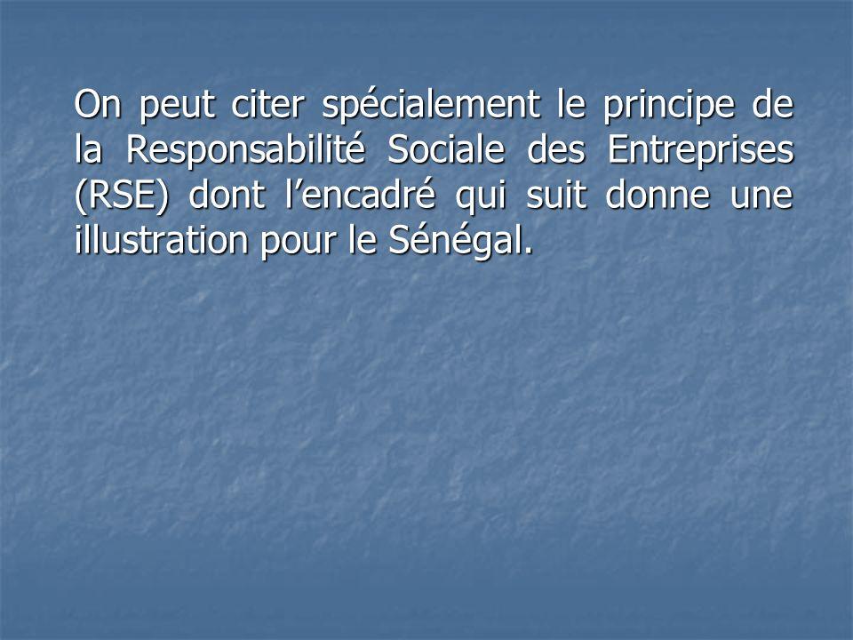 On peut citer spécialement le principe de la Responsabilité Sociale des Entreprises (RSE) dont l'encadré qui suit donne une illustration pour le Sénégal.
