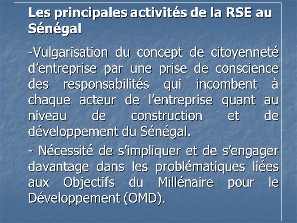 Les principales activités de la RSE au Sénégal -Vulgarisation du concept de citoyenneté d'entreprise par une prise de conscience des responsabilités qui incombent à chaque acteur de l'entreprise quant au niveau de construction et de développement du Sénégal.