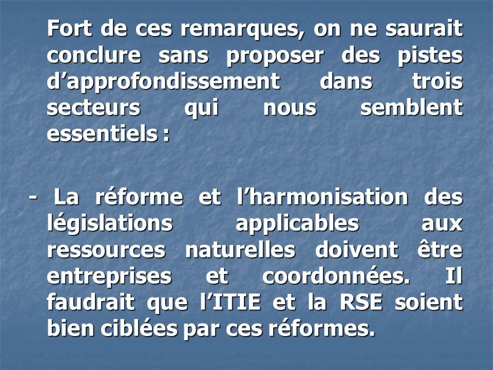 Fort de ces remarques, on ne saurait conclure sans proposer des pistes d'approfondissement dans trois secteurs qui nous semblent essentiels : - La réforme et l'harmonisation des législations applicables aux ressources naturelles doivent être entreprises et coordonnées.