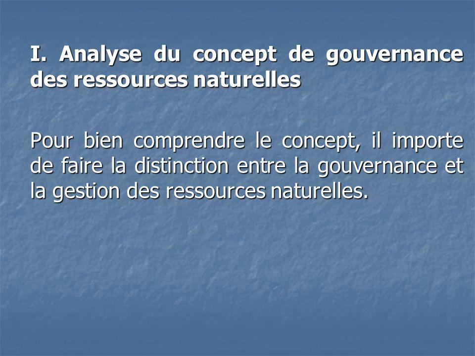 I. Analyse du concept de gouvernance des ressources naturelles
