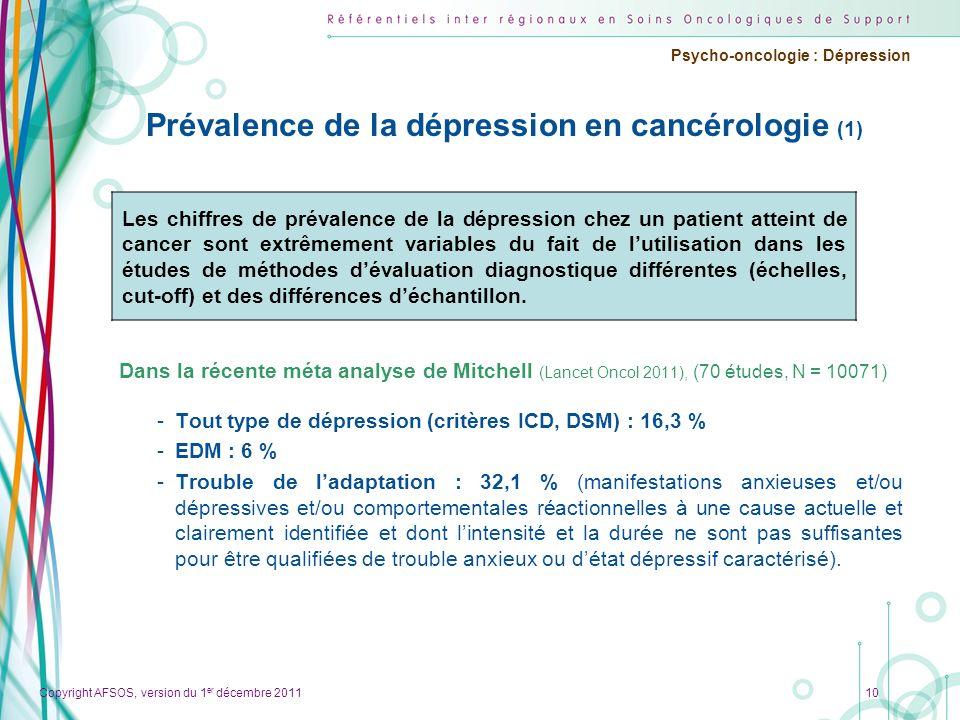 Prévalence de la dépression en cancérologie (1)