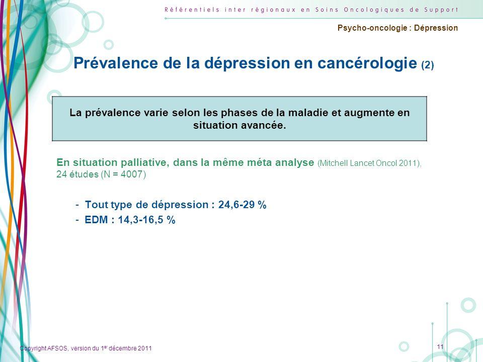 Prévalence de la dépression en cancérologie (2)