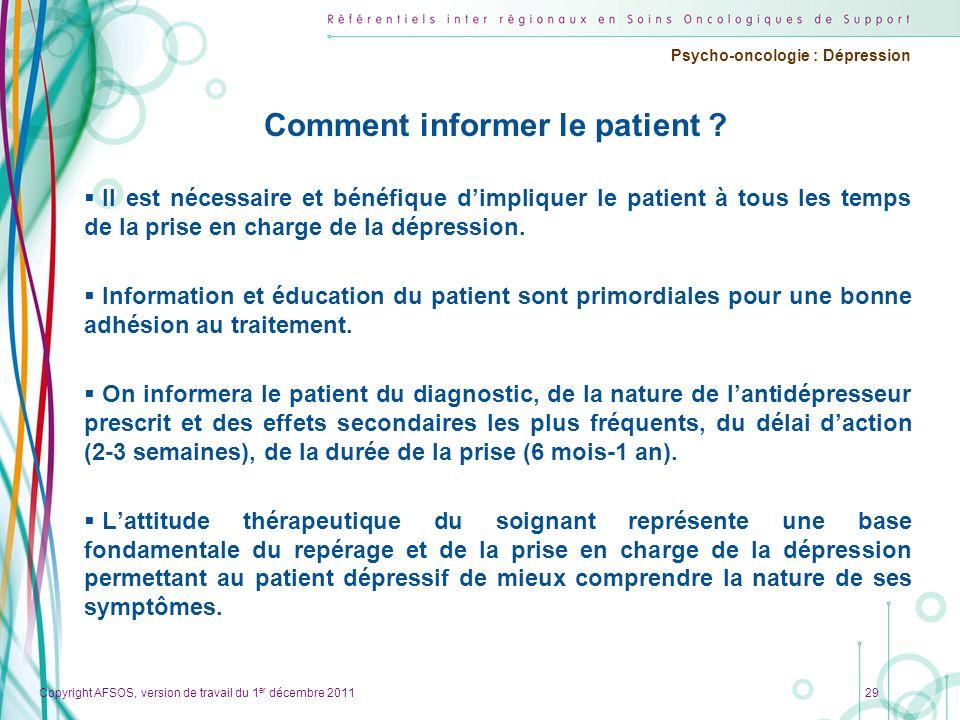 Comment informer le patient