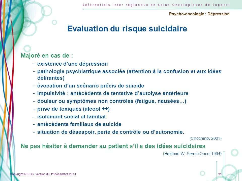 Evaluation du risque suicidaire