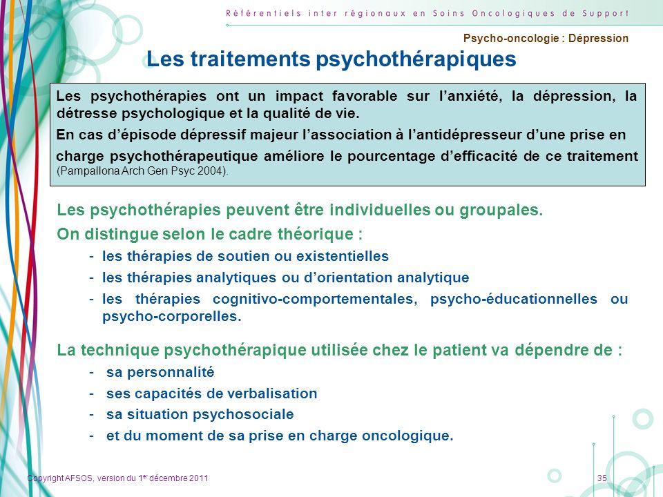 Les traitements psychothérapiques