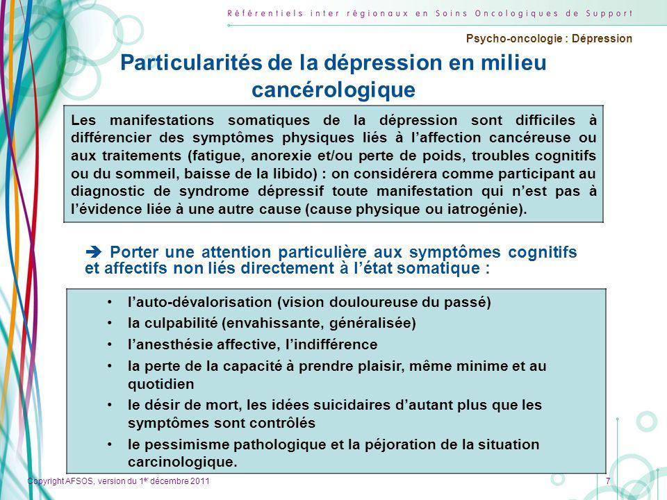 Particularités de la dépression en milieu cancérologique