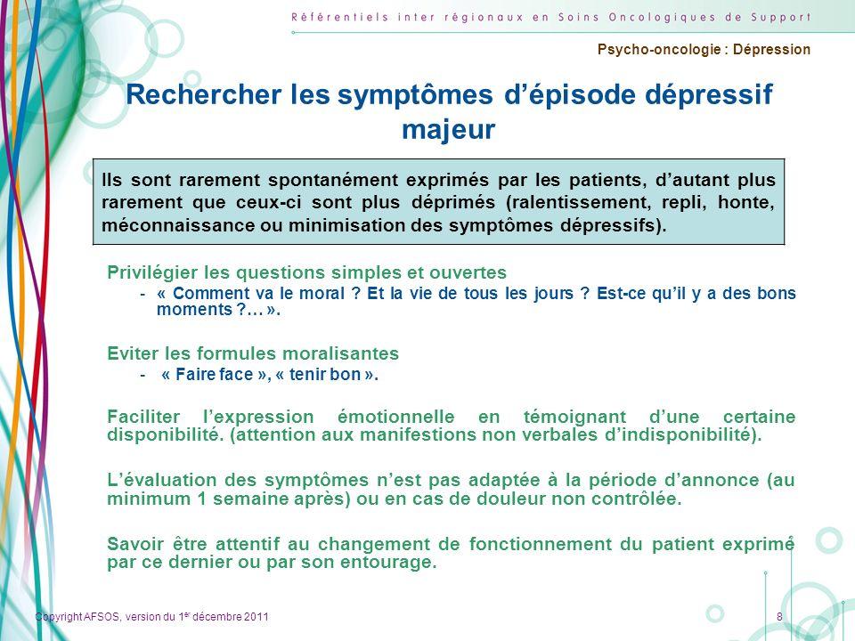 Rechercher les symptômes d'épisode dépressif majeur