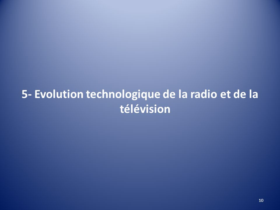 5- Evolution technologique de la radio et de la télévision